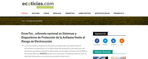 ENVERTEC S.L. recommended by Ecoticias.com, the green newspaper.